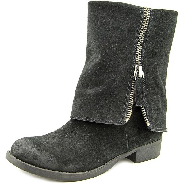 Nine West Thomasina Women Round Toe Suede Black Mid Calf Boot