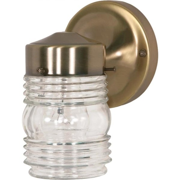 """Nuvo Lighting 77/995 1-Light 8-1/2"""" Tall Outdoor Wall Sconce with Clear Glass Shade - ANTIQUE BRASS - n/a"""