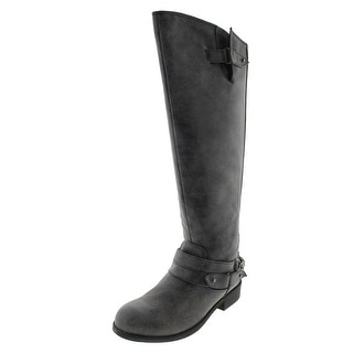 Madden Girl Womens Canyon Riding Boots Faux Leather Wide Calf