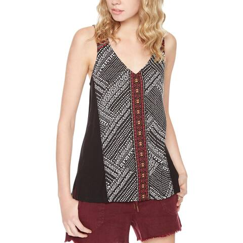 Sanctuary Womens Kira Tank Top Mixed Media Embroidered