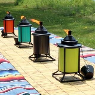Sunnydaze Multi-Color Outdoor Backyard Patio Tabletop Metal Torches - Set of 4