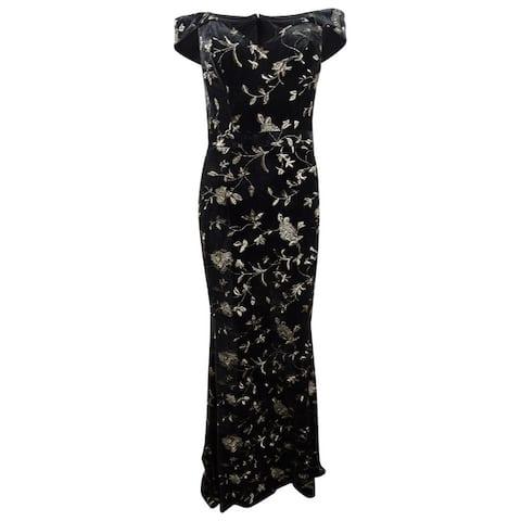 Xscape Women's Velvet Embroidered Gown - Black