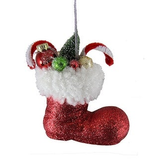 """4.5"""" Santa Claus Classics Red Glitter Boot With Gifts Christmas Tree Ornament"""