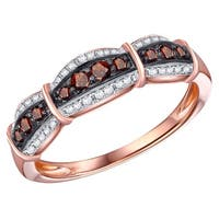 Prism Jewel 0.30Ct Round Cut Cognac Color Diamond with Diamond Anniversary Ring