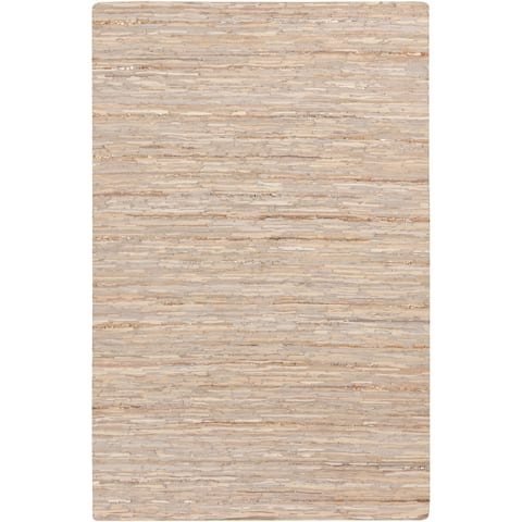 Carbon Loft Alberti Hand-Woven Stripe Leather Area Rug