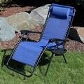 Sunnydaze Navy Blue Oversized Zero Gravity Lounge Chair - Thumbnail 1