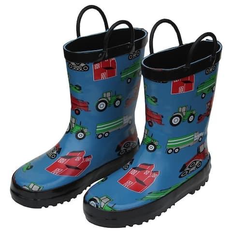 Foxfire Boys Blue Farm Equipment Print Rubber Rain Boots 11-3 Kids