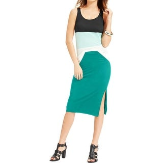 Eric & Lani Womens Juniors Sugary Sweet Pencil Skirt Jersey Side Slit