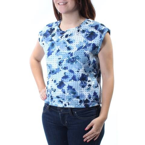 KIIND OF Womens Blue Cut Out Back Floral Cap Sleeve Jewel Neck Top Size: S