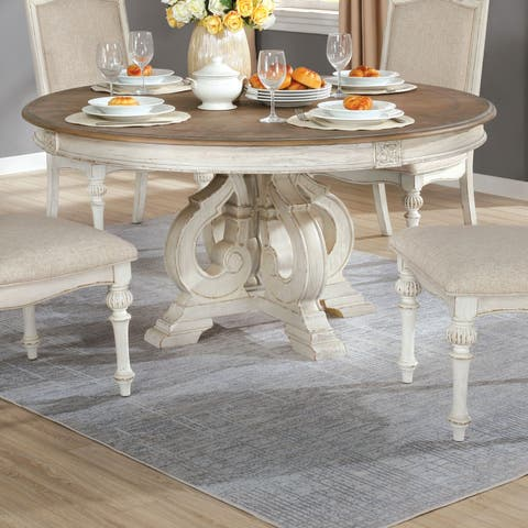 The Gray Barn Caelum Antique White 60-inch Round Dining Table