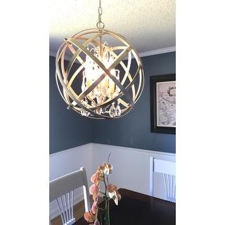 Benita Brushed Champagne 4-light Metal Globe Crystal Chandelier
