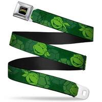 Classic Tmnt Logo Full Color Classic Tmnt Turtle Faces2 Greens Webbing Seatbelt Belt