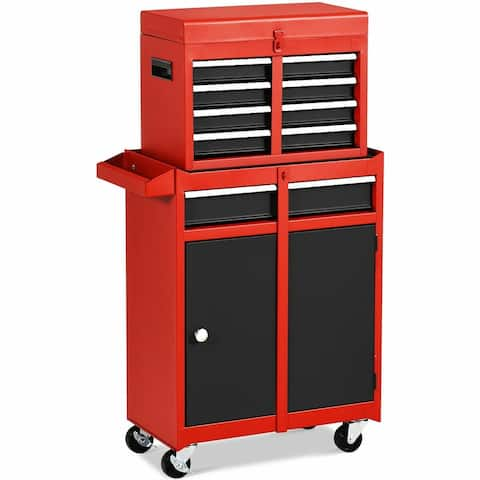"""2-in-1 Tool Chest & Cabinet with 5 Sliding Drawers-Black & Red - 23"""" x 11"""" x 40.5""""(L x W x H)"""