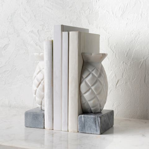 """Anya Carved Stone Pineapple Bookends (2-piece) - 6""""H x 3""""W x 4""""D, 6""""H x 3""""W x 4""""D"""