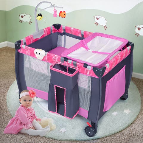 Costway Foldable Travel Baby Playpen Crib Infant Bassinet Bed Mosquito Net Music w/ Bag