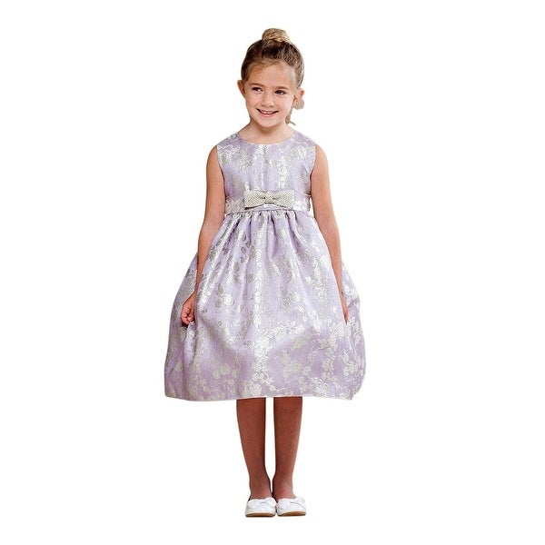 c4cbeb523ab Shop Crayon Kids Little Girls Lilac Glitter Rose Pattern Bow Flower Girl  Dress - Free Shipping Today - Overstock - 18171999