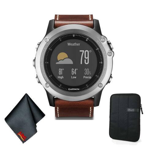 GarminFENIX 3 Sapphire Multi-Sport Training GPS Watch (Silver w/ Leather Band) Basic Accessory Bundle