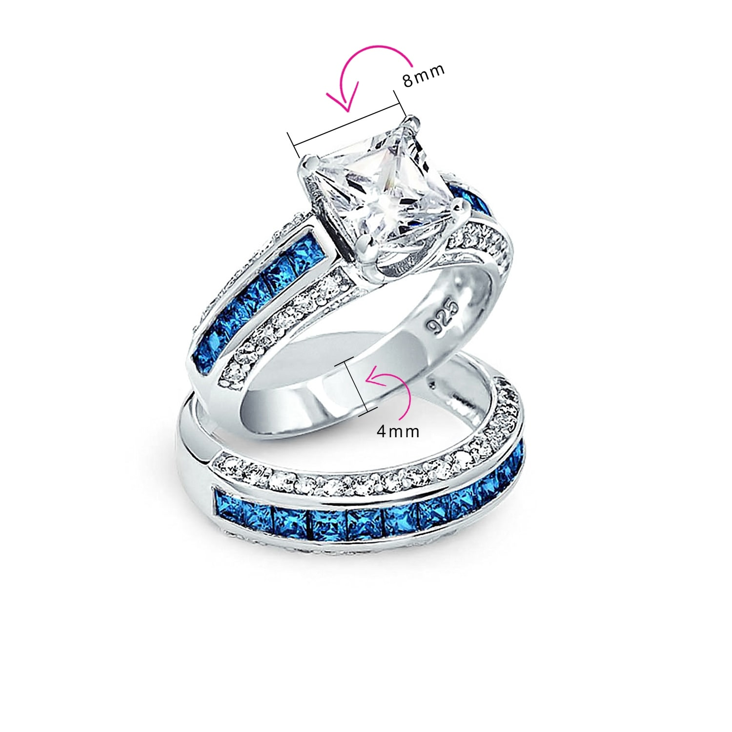 Wedding Engagement Set 3 Piece Princess Cut Cubic Zirconia 925 Sterling Silver
