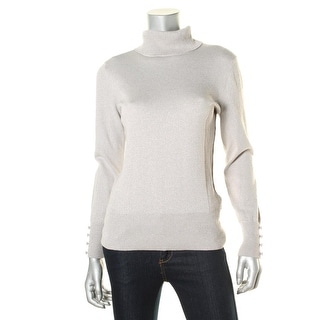 Cable & Gauge Womens Metallic Turtleneck Pullover Sweater