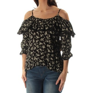 Womens Black Floral 3/4 Sleeve Scoop Neck Top Size S