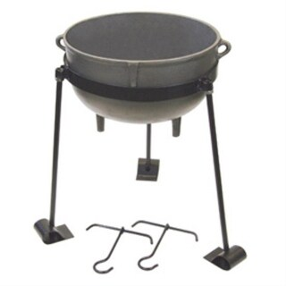 Bayou Classic CI-7415 15 Gallon Cast Iron Jambalaya Pot Set - gray