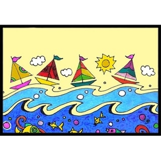 Carolines Treasures PJC1105JMAT Summer Sail Away Sailboats Indoor & Outdoor Mat 24 x 36 in.
