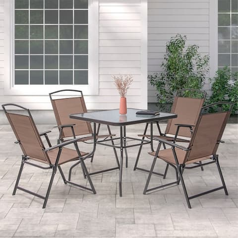 5 Piece Patio Dining Set with Umbrella Hole (Brown)