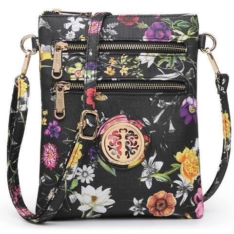 Dasein Soft PU Leather Multi-Zipper Crossbody/Messenger Bag for Women