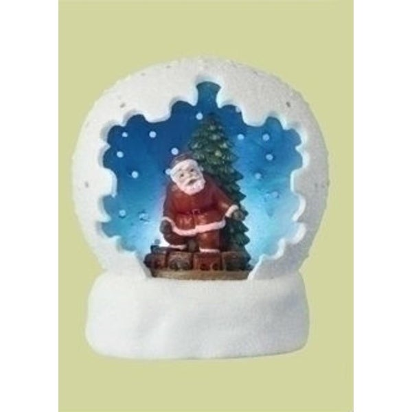 "4"" Battery Operated LED Lighted Santa Claus & Christmas Tree Table Top Domes - WHITE"