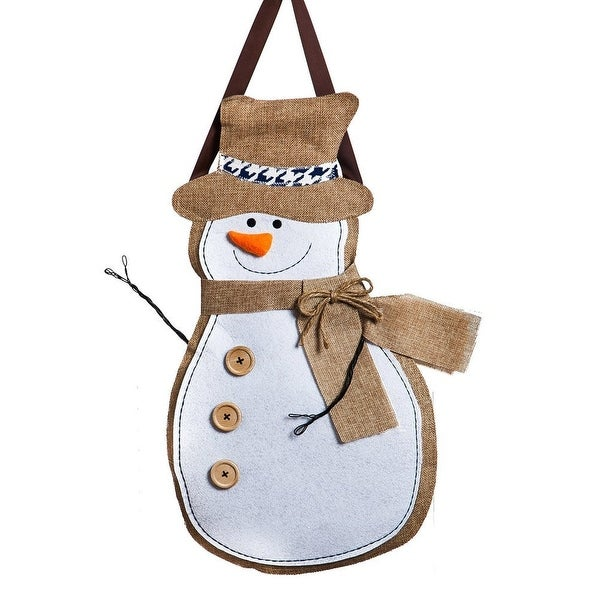evergreen 2dhb1009 christmas snowman burlap door decoration white