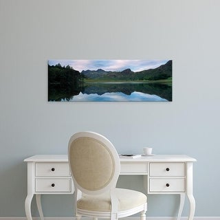Easy Art Prints Panoramic Image 'Reflection of mountain on water, BleTarn, Langdale Pike, Cumbria, England' Canvas Art