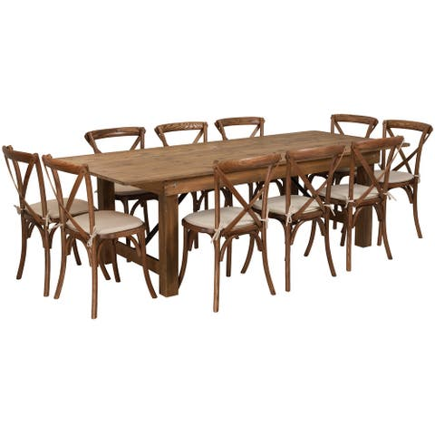 """8' x 40"""" Rustic Folding Farm Table Set with 10 Cross Back Chairs and Cushions"""