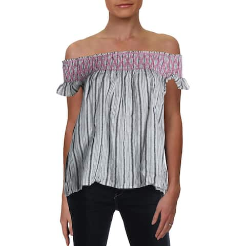 4Our Dreamers Womens Peasant Top Linen Embroidered - White/Black - S