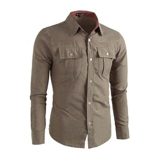 Unique Bargains Men Long Sleeve Chest Flap Pockets Button Down Shirt