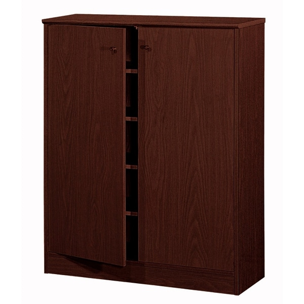 Traditional Shoe Cabinet With Three Adjustable Shelves, Brown