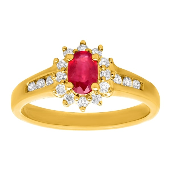 5/8 ct Ruby and 1/4 ct Diamond Ring in 10K Gold - Red