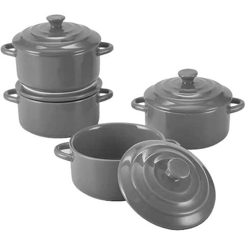 Bruntmor 8.5 Ounce Mini Cocotte Ceramic Ramekins for Baking, Mini Casserole with Lid, Souffle Dish, Set of 4