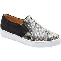 Vionic Women's Midi Double Gore Slip-On Sneaker Natural Snake Printed Leather