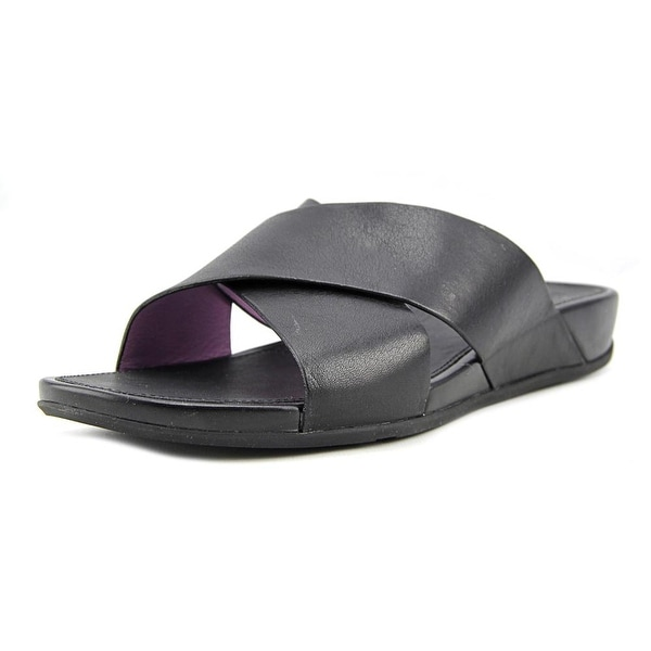 FitFlop Aix Slide Women Open Toe Leather Black Slides Sandal