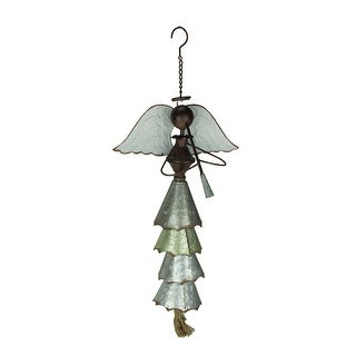 Galvanized and Rustic Brown Metal Trumpeting Angel Wind Chime - 22 X 12 X 8 inches