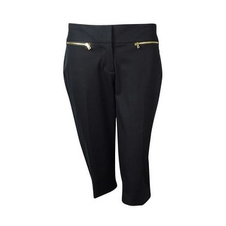 Alfani Women's Zip-Pocket Skimmer Stretch Capri Pants - Deep Black - 2