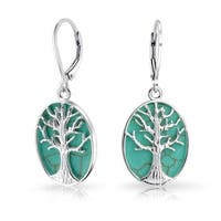 .925 Silver Synthetic Turquoise Tree of Life Leverback Earrings