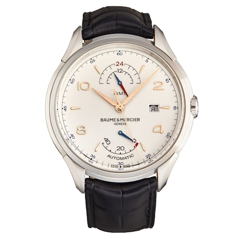 Baume Mercier Men's M0A10421 'Clifton' Silver Dial GMT Black Leather Strap Swiss Automatic Watch