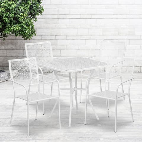 28'' Square Indoor-Outdoor Steel Patio Table Set with 4 Square Back Chairs
