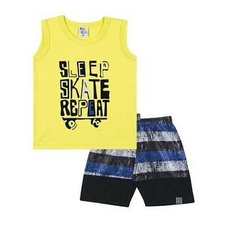 Toddler Boy Outfit Graphic Tank Top and Shorts Set Pulla Bulla Sizes 1-3 Years