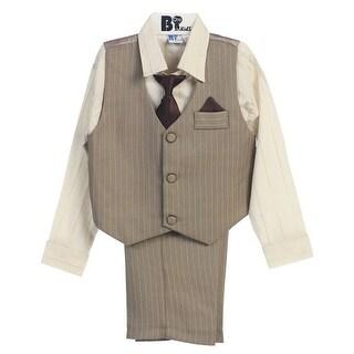 B-One Four Piece Gold Striped Ivory Shirt Striped Khaki Boys Vest Set 9M-4T