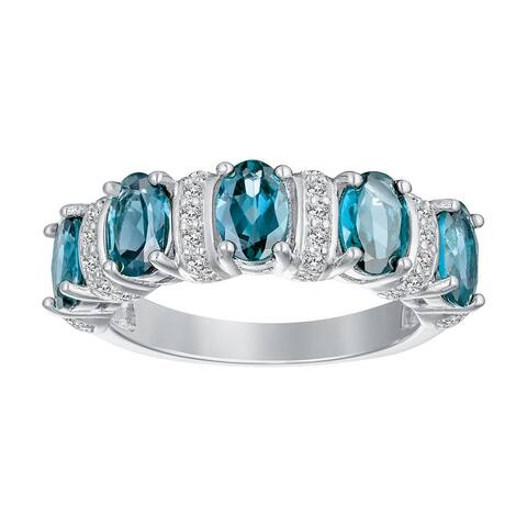 5-Stone Oval-Cut Gemstone with Alternating White Zircon Gemstone Wedding Band, Sterling Silver