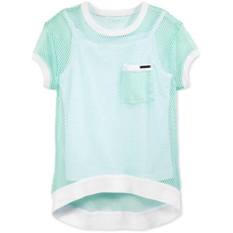 Sean John Girls Layered Mesh Embellished T-Shirt