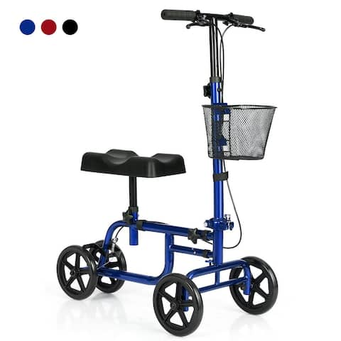 Gymax Foldable Steerable Knee Walker W/Basket and Dual Brakes Crutch