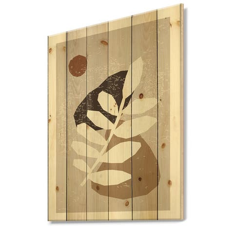 Designart 'Minimal Elementary Organic And Geometric Compostions XXXXXXXXVI' Modern Print on Natural Pine Wood